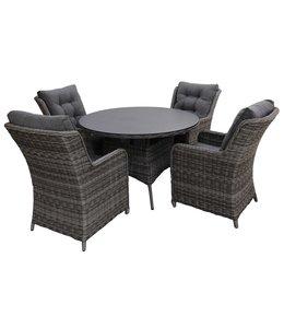4-jahreszeiten gartenmoebel 5-teiliges Gartenset | 4 Milano Sitze | 120 cm runder Gartentisch aus Keramik (Ash Grey)
