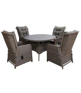 4-jahreszeiten gartenmoebel 5-teiliges Gartenset | 4 Verstellbare Milano Sitze (SW) | 120 cm runder Gartentisch Mit Keramik Platte (Sweet Brown)