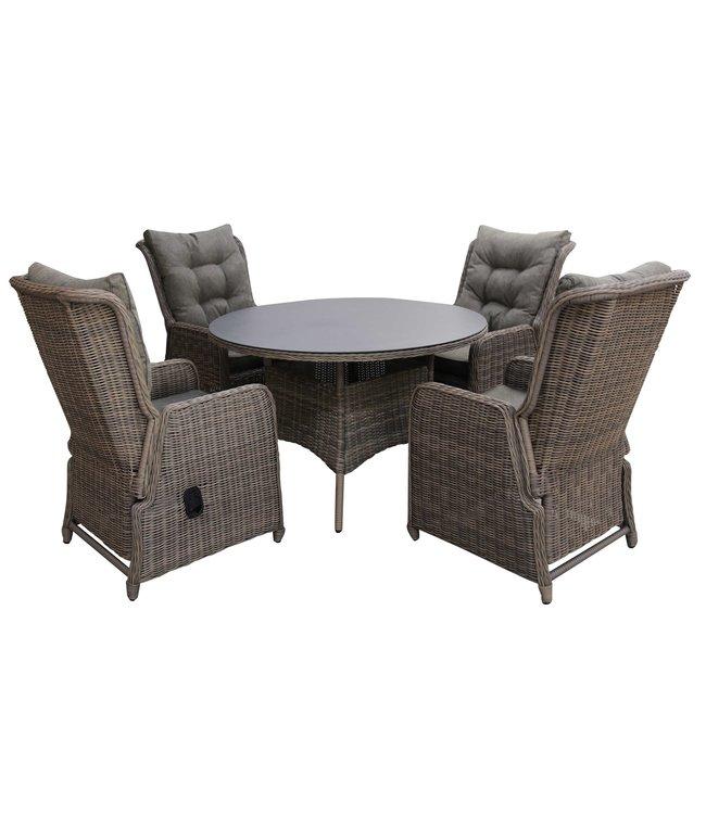4-jahreszeiten gartenmoebel 5-teiliges Gartenset   4 Verstellbare Milano Sitze (SW)   120 cm runder Gartentisch Mit Keramik Platte (Sweet Brown)