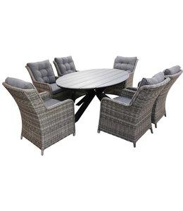 4-jahreszeiten gartenmoebel 7-Teilige Gartenset 6 Milano Gartenstühle (Ash Grey) / Limasol  Tish Oval 220cm Grey