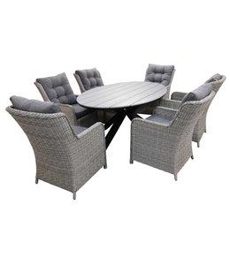 4 Jahreszeiten Gartenmöbel 7-teiliges Gartenset 6 Milano-Stühle Mystic Grey 220 cm Limasol Gartentisch Polywood  Grey