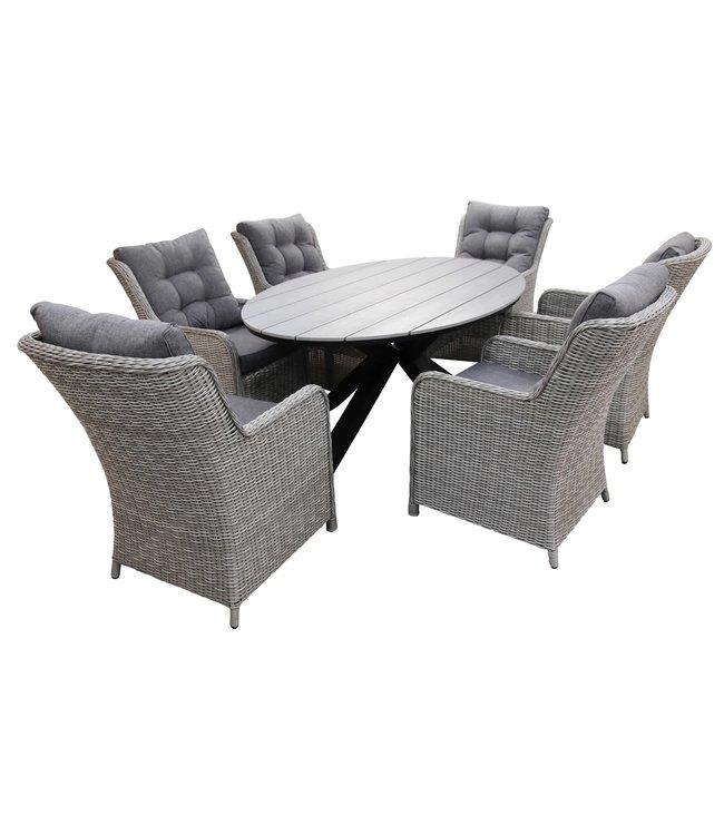 4-jahreszeiten gartenmoebel 7-teiliges Gartenset 6 Milano-Stühle Mystic Grey 220 cm Limasol Gartentisch Grey