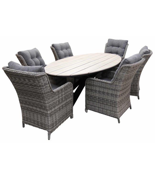4-jahreszeiten gartenmoebel 7-Teilige Gartenset 6 Milano Gartenstühle (Ash Grey) / Limasol  Tish Oval 220cm Wood