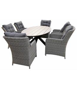 4-jahreszeiten gartenmoebel 7-Teilige Gartenset 6 Milano Gartenstühle (Mystic Grey) / Limasol  Tish Oval 220cm Wood