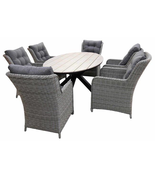 4 Jahreszeiten Gartenmöbel 7-Teilige Gartenset 6 Milano Gartenstühle (Mystic Grey) / Limasol  Tish Oval 220cm Wood