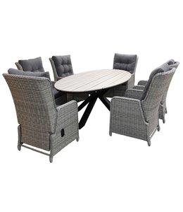 4 Jahreszeiten Gartenmöbel 7-Teilige Gartenset 6 Dublin Verstellbare Gartenstühle (Mystic Grey) / Limasol  Tish Oval 220cm Wood