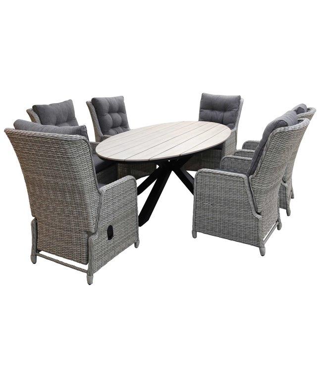 4-jahreszeiten gartenmoebel 7-Teilige Gartenset 6 Milano Verstellbare Gartenstühle (Mystic Grey) / Limasol  Tish Oval 220cm Wood