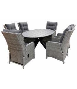 4-jahreszeiten gartenmoebel 7-Teilige Gartenset 6 Milano Verstellbare Gartenstühle (Mystic Grey) / Limasol  Tish Oval 220cm Grey