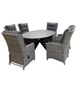 4-jahreszeiten gartenmoebel 7-Teilige Gartenset 6 Milano Verstellbare Gartenstühle (Ash Grey) / Limasol  Tish Oval 220cm Wood