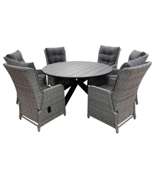 4-jahreszeiten gartenmoebel 7-Teilige Gartenset 6 Milano verstellbare Gartenstühle (Mystic Grey) / Limasol Tisch rund 150cm Grey