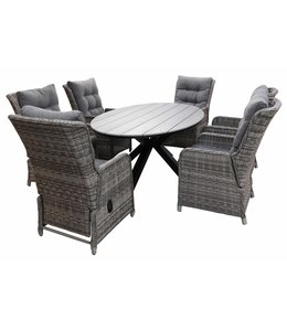 4-jahreszeiten gartenmoebel 7-Teilige Gartenset 6 Milano Verstellbare Gartenstühle (Ash Grey) / Limasol  Tish Oval 220cm Grey