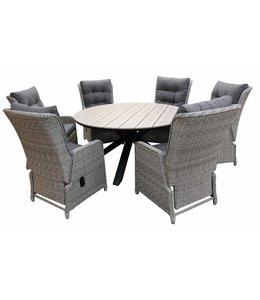 4-jahreszeiten gartenmoebel 7-Teiliges Gartenset 6 Milano verstellbare Gartenstühle (Mystic Grey) / Limasol Tisch rund 150cm (Wood)