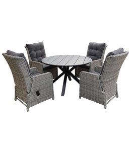 4-jahreszeiten gartenmoebel 5-Teiliges Gartenset 4 Milano verstellbare Gartenstühle (Mystic Grey) / Limasol tisch rund 120cm Grey