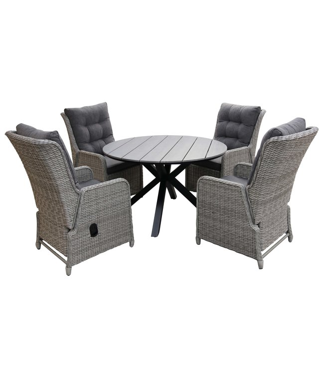 4 Jahreszeiten Gartenmöbel 5-Teiliges Gartenset 4 Dublin verstellbare Gartenstühle (Mystic Grey) / Limasol tisch rund 120cm Grey