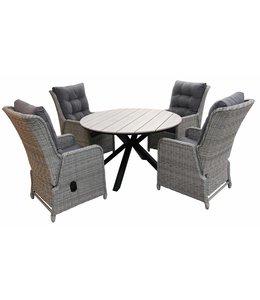 4-jahreszeiten gartenmoebel 5-Teilige Gartenset 4 Milano verstellbare Gartenstühle (Mystic Grey) / Limasol runde Tisch 120cm Wood