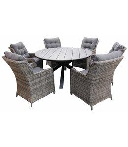 4-jahreszeiten gartenmoebel 7-Teilige Gartenset 6 Milano Gartenstühle (Ash Grey) / Limasol runder Tisch 150cm (Grey)