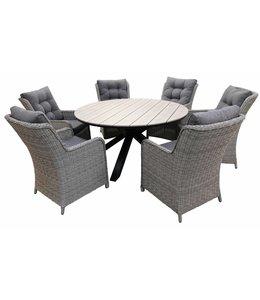 4-jahreszeiten gartenmoebel 7-Teilige Gartenset 6 Milano Gartenstühle (Mystic Grey) / Limasol runder Tisch 150cm (Wood)