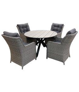 4-jahreszeiten gartenmoebel 5-Teilige Gartenset 4 Milano Gartenstühle (Mystic Grey) / Limasol  Tisch rund 120cm Wood