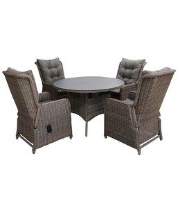 4-jahreszeiten gartenmoebel 5-Teilige Gartenset 4 Milano Verstellbare Gartenstühle (Sweat Brown) / 120 cm runder Tisch mit Keramik platte (Sweat Brown)
