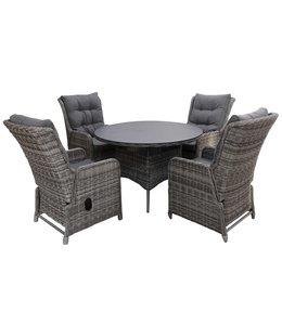 4-jahreszeiten gartenmoebel 5-Teilige Gartenset 4 Milano Verstellbare Gartenstühle (Ash Grey) / 120 cm runder Tisch mit Keramik platte (Ash Grey)