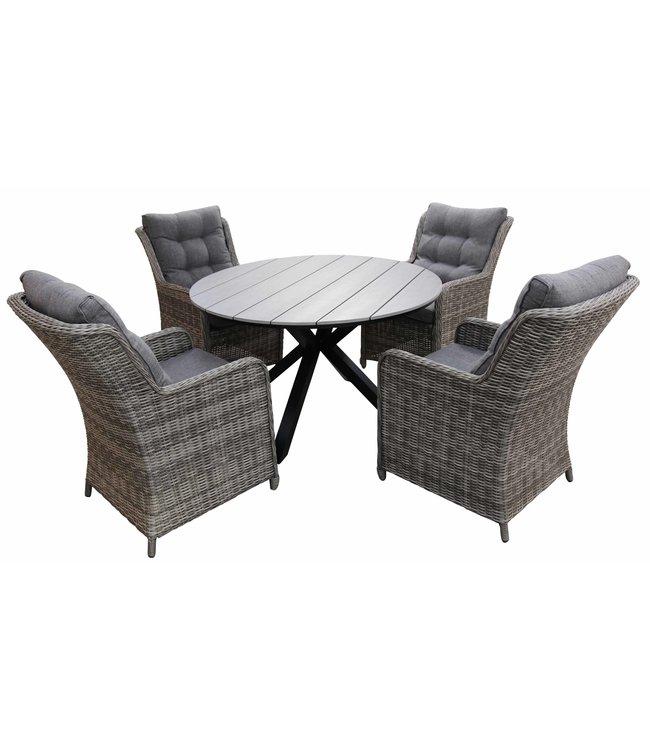 4-jahreszeiten gartenmoebel 5-Teilige Gartenset 4 Milano Gartenstühle (Ash Grey) / Limasol runder Tisch 120cm Polywood (Grey )