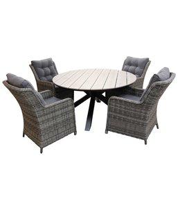4-jahreszeiten gartenmoebel 5-Teilige Gartenset 4 Milano Gartenstühle (Ash Grey) / Limasol runder Tisch 120cm Polywood (Wood )