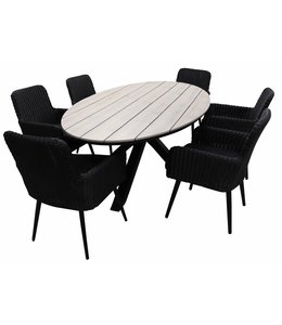 4-jahreszeiten gartenmoebel 7-teiliges Gartenset mit 6 Pisa-Gartenstühlen (schwarz) und einem ovalen 220-cm-Limasol-Gartentisch (Wood) )