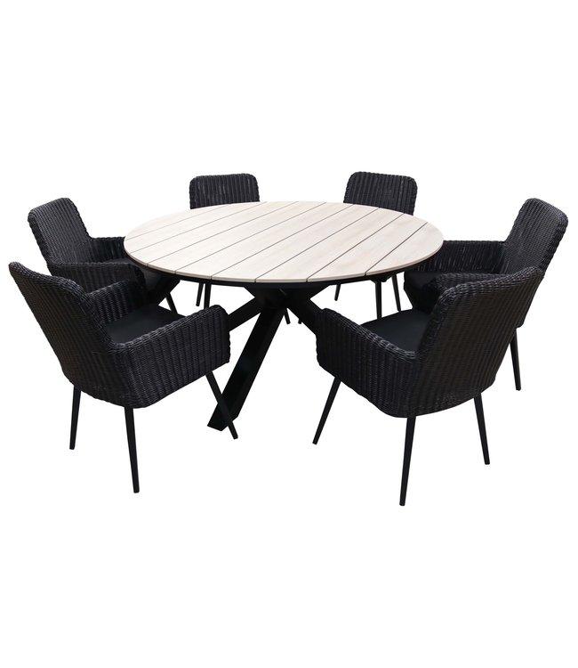 4-jahreszeiten gartenmoebel 7-teiliges Gartenset mit 6 Pisa Gartenstühlen (schwarz) und ca. 150 cm Limasol Gartentisch (Wood)