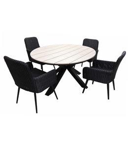 4 Jahreszeiten Gartenmöbel 5-teiliges Gartenset mit 4 Pisa-Gartenstühlen (schwarz) und ca. 120 cm großem Limasol-Gartentisch (Holz)