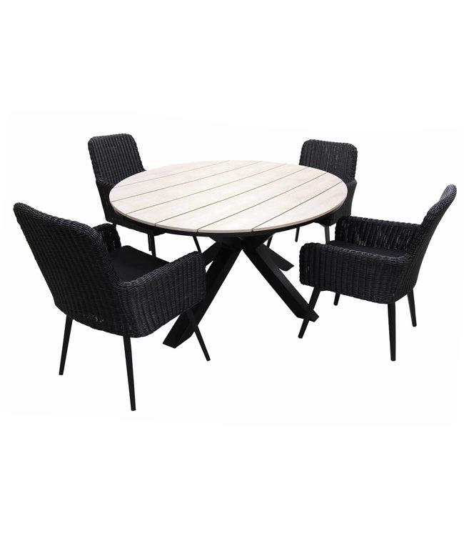 4-jahreszeiten gartenmoebel 5-teiliges Gartenset mit 4 Pisa-Gartenstühlen (schwarz) und ca. 120 cm großem Limasol-Gartentisch (Holz)