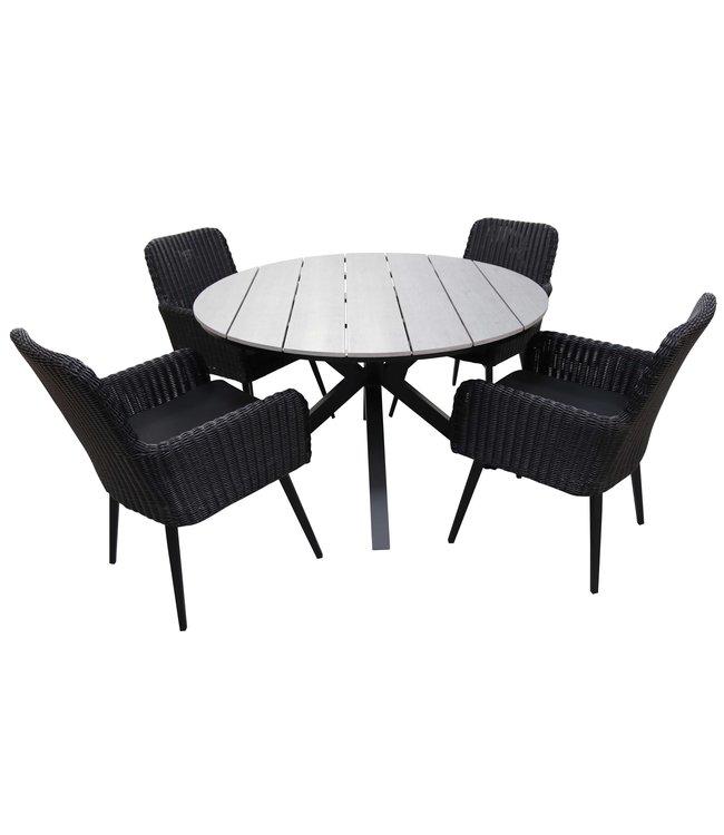 4-jahreszeiten gartenmoebel 5-teiliges Gartenset mit 4 Pisa-Gartenstühlen (schwarz) und ca. 120 cm großem Limasol-Gartentisch (grau)