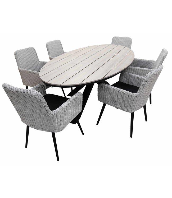 4-jahreszeiten gartenmoebel 7-teiliges Gartenset mit 6 Pisa-Gartenstühlen (weiß) und einem ovalen 220-cm-Limasol-Gartentisch (Holz)