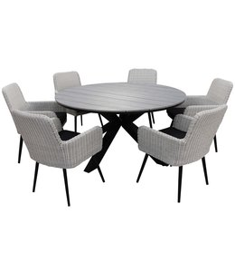 4 Jahreszeiten Gartenmöbel 7-teiliges Gartenset mit 6 Pisa Gartenstühlen (weiß) und rundem 150 cm Limasol Gartentisch (grau)