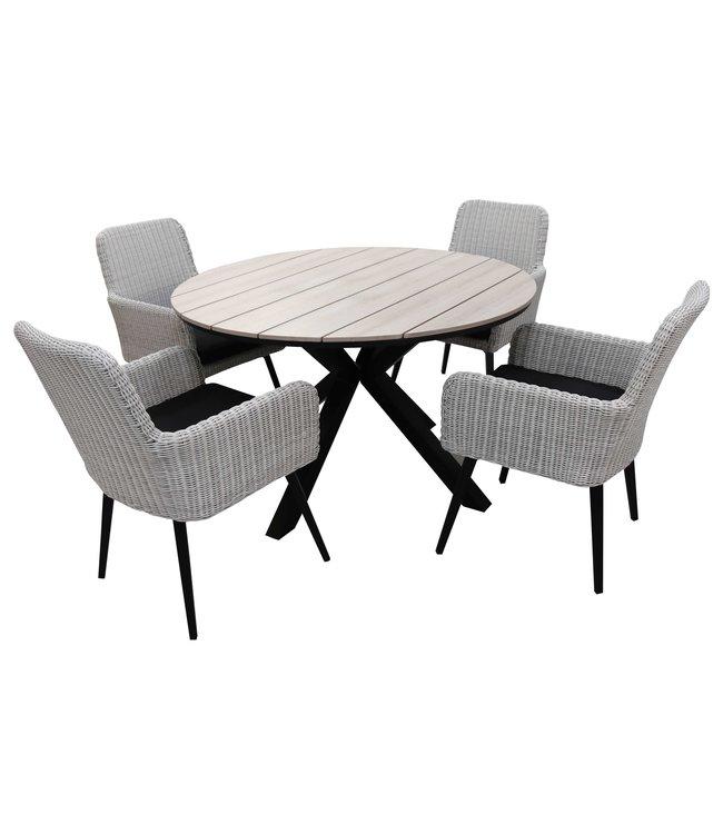 4 Jahreszeiten Gartenmöbel 5-teiliges Gartenset mit 4 Pisa Gartenstühlen (weiß) und ca. 120 cm Limasol Gartentisch (Holz)