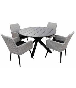 4-jahreszeiten gartenmoebel 5-teiliges Gartenset mit 4 Pisa-Gartenstühlen (weiß) und einem ca. 120 cm großen Limasol-Gartentisch (grau)