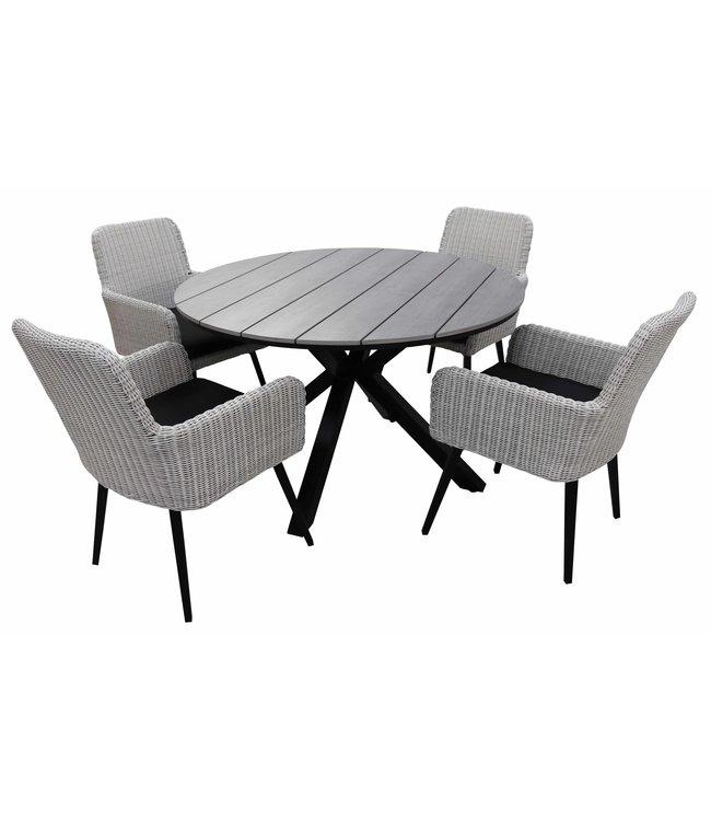 4 Jahreszeiten Gartenmöbel 5-teiliges Gartenset mit 4 Pisa-Gartenstühlen (weiß) und einem ca. 120 cm großen Limasol-Gartentisch (grau)