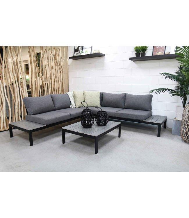 4 Jahreszeiten Gartenmöbel George Lounge Set (Grau) Aluminium / Polywood