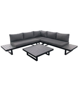 4 Jahreszeiten Gartenmöbel Plattform-Loungeset Hoedspruit | 4-teilig | Grau | Aluminium & Polywood