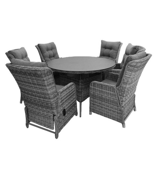 4 Jahreszeiten Gartenmöbel 7-Teilige Gartenset 6 Milano Verstellbare Gartenstühle (Ash Grey) / 150 cm runder Tisch (Ash Grey)