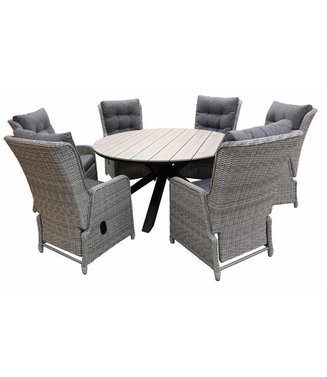 4 Jahreszeiten Gartenmöbel 7-Teilige Gartenset 6 Milano verstellbare Gartenstühle (Mystic Grey) / Limasol Tisch rund 150cm Wood