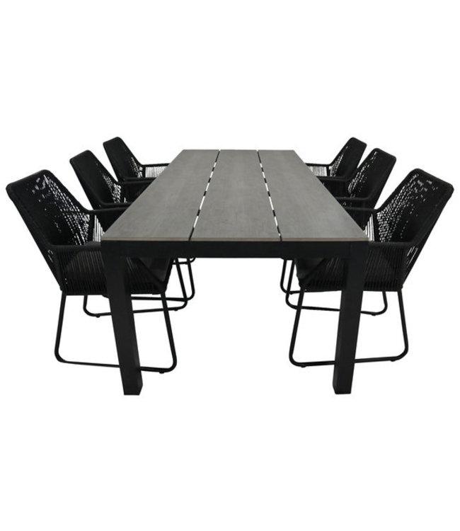 7-Teiliges Gartenset 6 Mona Gartenstühle Black / Limasol Tisch 225 cm (Anthrazit)