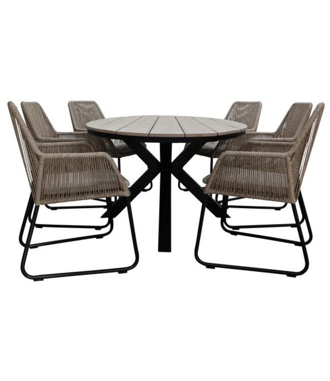 7-teiliges Gartenset, 6 Mona-Stühle (Naturel) 220 cm Limasol-Gartentisch Oval (Wood)