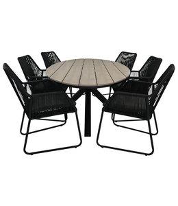 7-teiliges Gartenset, 6 Mona-Stühle (Black) 220 cm Limasol-Gartentisch Oval (Wood)