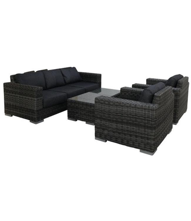 4 Jahreszeiten Gartenmöbel Sessel-Bank Loungeset Prince   4-tlg.   Dark Grey   Rattan