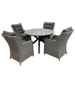 4 Jahreszeiten Gartenmöbel 5-Teilige Gartenset 4 Dublin Gartenstühle (Mystic Grey) / Limasol  Tisch rund 120cm  Grey