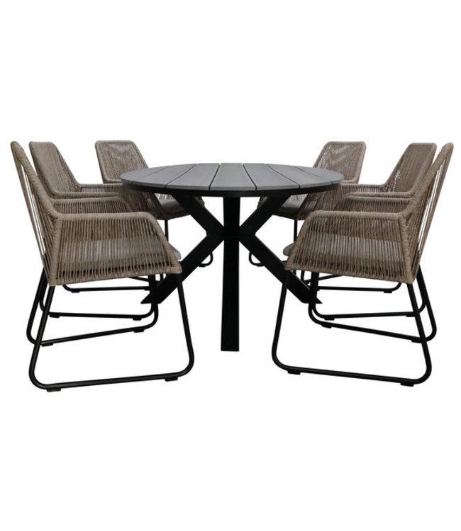 4 Jahreszeiten Gartenmöbel 7-teiliges Gartenset, 6 Mona-Stühle (Naturel) 220 cm Limasol-Gartentisch Oval (Grey)