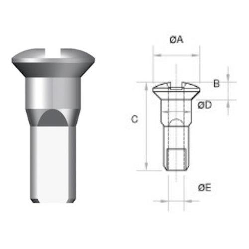 Nippel 14G - Runde Tasse - Brass - Schwarz