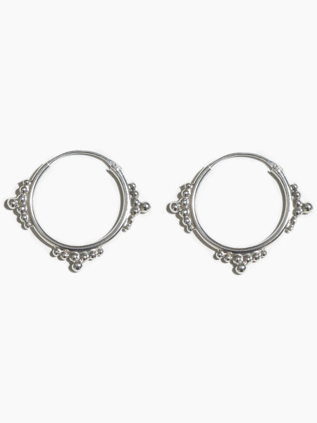 Fashionology Chunky Ethnic Hoop Earring Silver 20mm