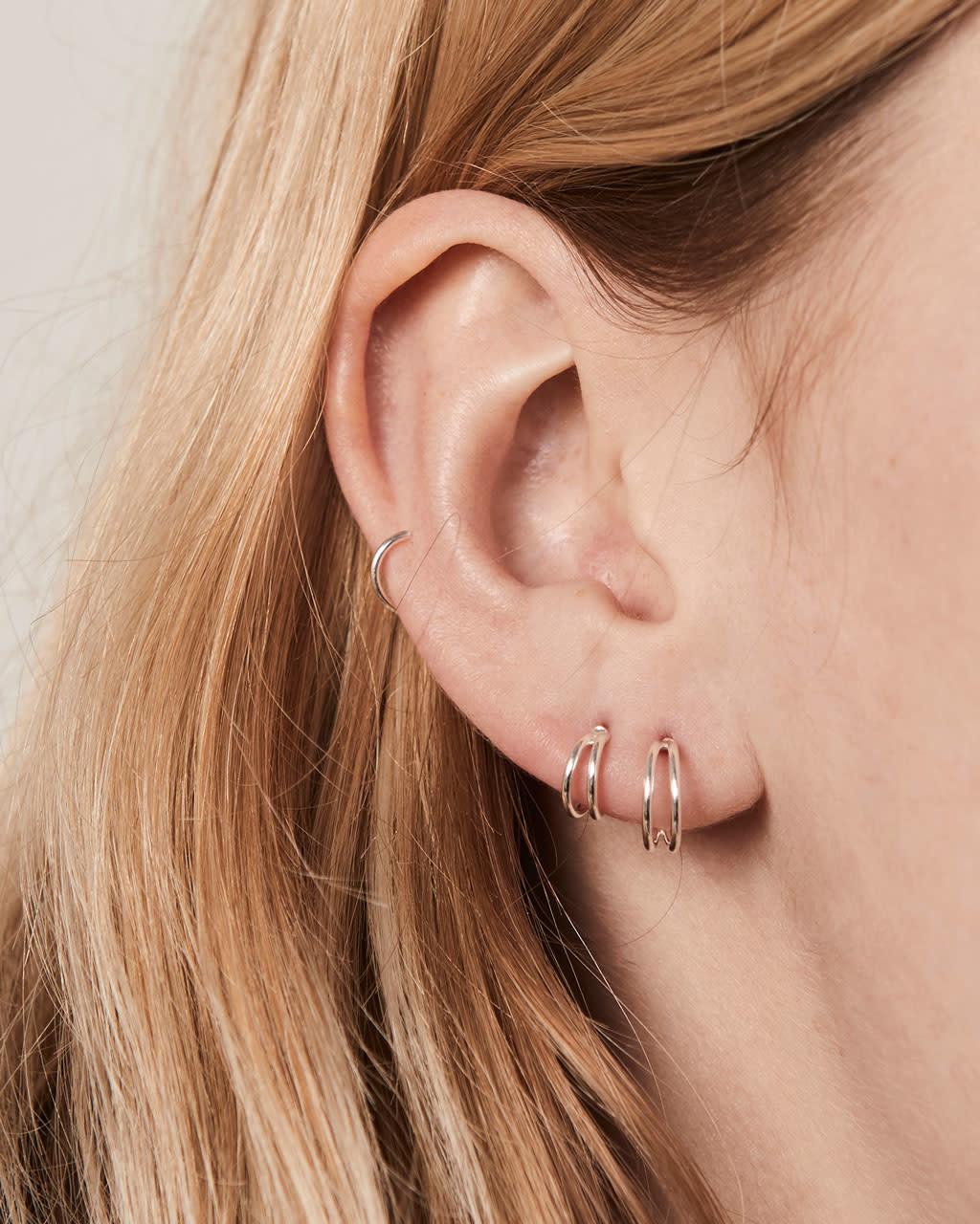8fded276fe9ff FY Double Hoop Earrings Sterling Silver 10mm