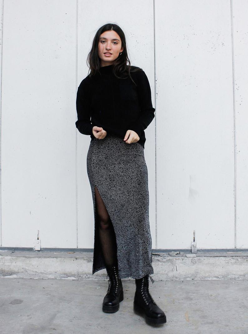 Skirt Black Silver Glitter